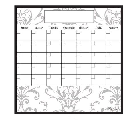Grey Damask Magnetic Dry Erase Monthly Calendar