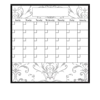 Grey Damask Magnetic Dry Erase Monthly Calendar