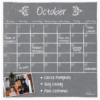 Grey Chalkboard Magnetic Dry Erase Monthly Calendar
