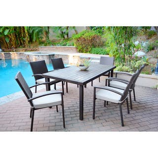 7-piece Espresso Wicker Dining Set with Tan Cushions|https://ak1.ostkcdn.com/images/products/9252779/P16418308.jpg?impolicy=medium