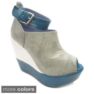 Luv's Women's 'Rio 4' Colorblock Ankle Strap Peep Toe Wedges
