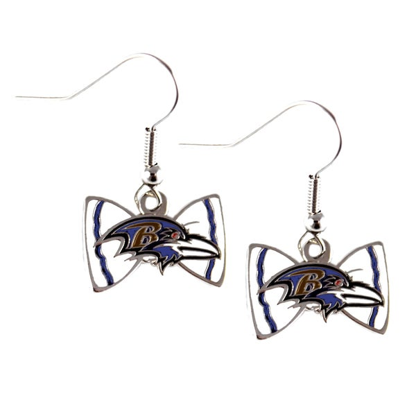 Nfl Baltimore Ravens Bow Tie Earrings
