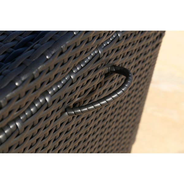 Astounding Shop Abbyson Pasadena Outdoor Black Wicker Storage Ottoman Caraccident5 Cool Chair Designs And Ideas Caraccident5Info