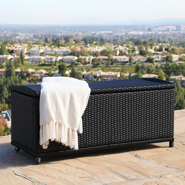 Abbyson Pasadena Outdoor Black Wicker Storage Ottoman