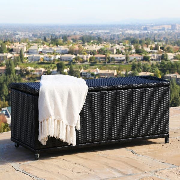 Enjoyable Shop Abbyson Pasadena Outdoor Black Wicker Storage Ottoman Caraccident5 Cool Chair Designs And Ideas Caraccident5Info