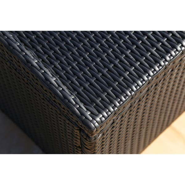 Surprising Shop Abbyson Pasadena Outdoor Black Wicker Storage Ottoman Caraccident5 Cool Chair Designs And Ideas Caraccident5Info