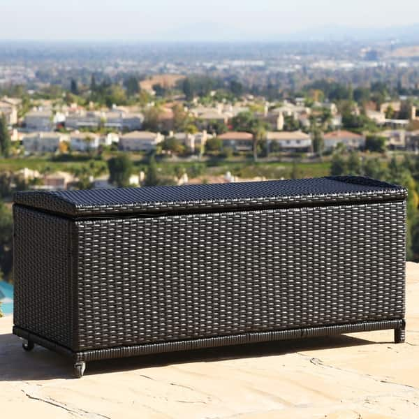 Super Shop Abbyson Pasadena Outdoor Black Wicker Storage Ottoman Caraccident5 Cool Chair Designs And Ideas Caraccident5Info