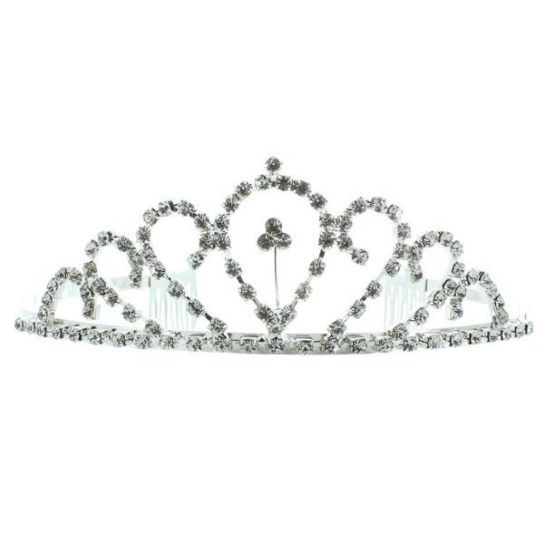 Kate Marie 'Daisy' Silvertone Rhinestone Tiara with Hair Combs