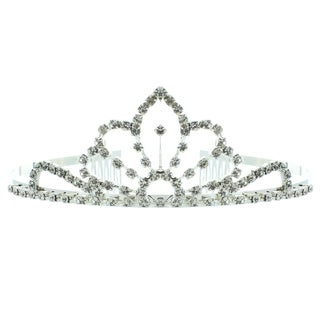 Kate Marie 'Eva' Silvertone Rhinestone Tiara with Hair Combs