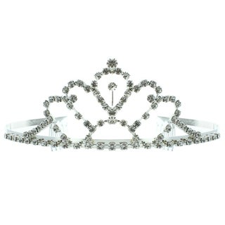Kate Marie 'Faith' Silvertone Rhinestone Tiara with Hair Combs