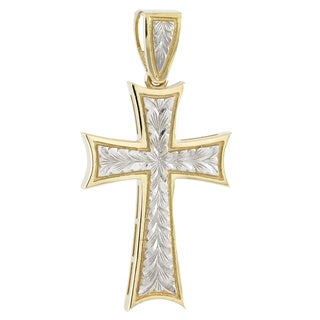 10k Two-tone Gold Fancy Engraved Cross Charm