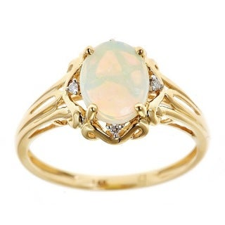 anika and august 14k yellow gold oval cut australian opal and diamond accent ring - Opal Wedding Ring