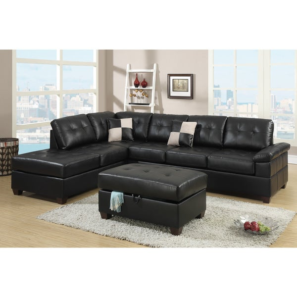 Reversible Sectional Sofa White Bonded Leather Match Sofas: Shop Madan Black Bonded Leather Sectional Sofa