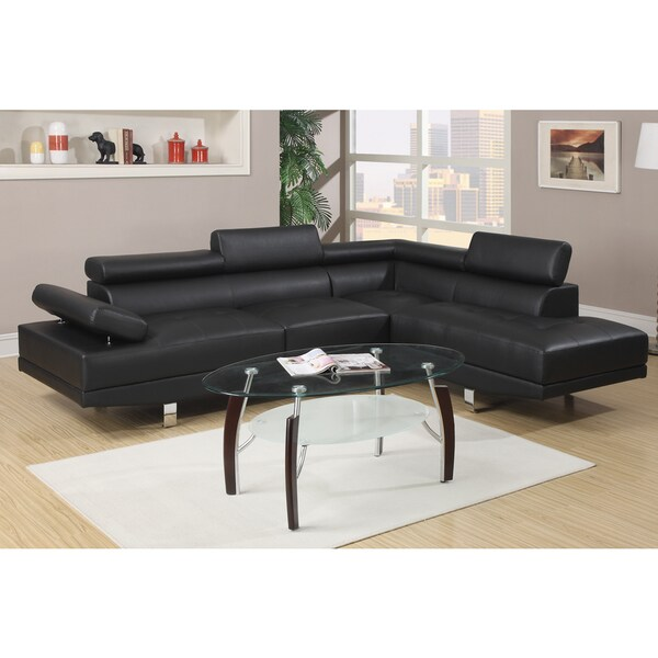 Pomorie Black Faux Leather Sectional Sofa Set - Free Shipping