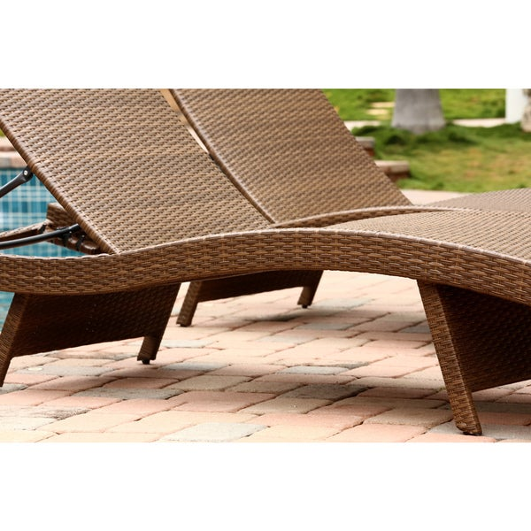 Abbyson Palermo Outdoor Brown Wicker Chaise Lounge Set   Free Shipping  Today   Overstock.com   16418503