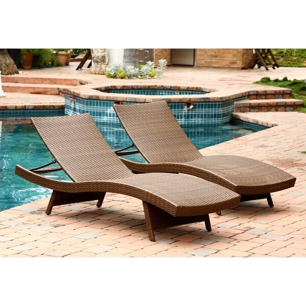 Abbyson palermo outdoor brown wicker chaise lounge set for Belmont 4 piece brown wicker patio chaise lounge set