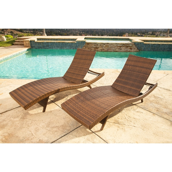 Abbyson Palermo Outdoor Brown Wicker Chaise Lounge Set of 2