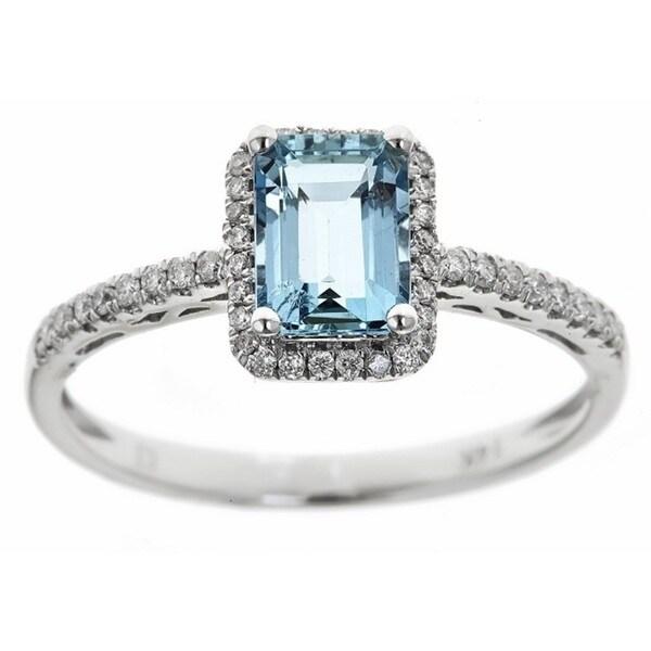 Anika and August 14k White Gold 1/5ct TDW Diamond and Emerald-cut Brazilian Aquamarine Ring (G-H, I1