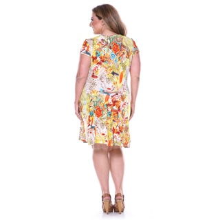 White Mark Women's Plus Fit-and-flare Floral Printed Dress