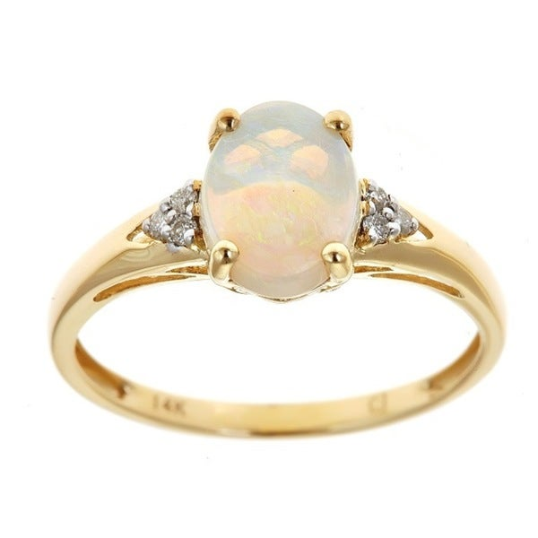 Anika and August 14k Yellow Gold Oval Australian Opal and Diamond Accent Ring - White