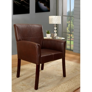 Brown Leatherette Classic Square-back Armchair