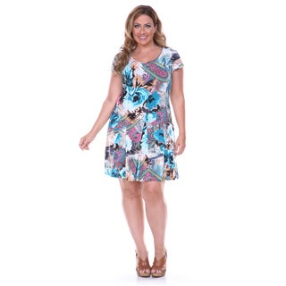White Mark Women's Plus Fit-and-flare Floral and Paisley Printed Dress