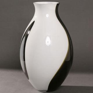 20-inch Opal Black Glass Vase