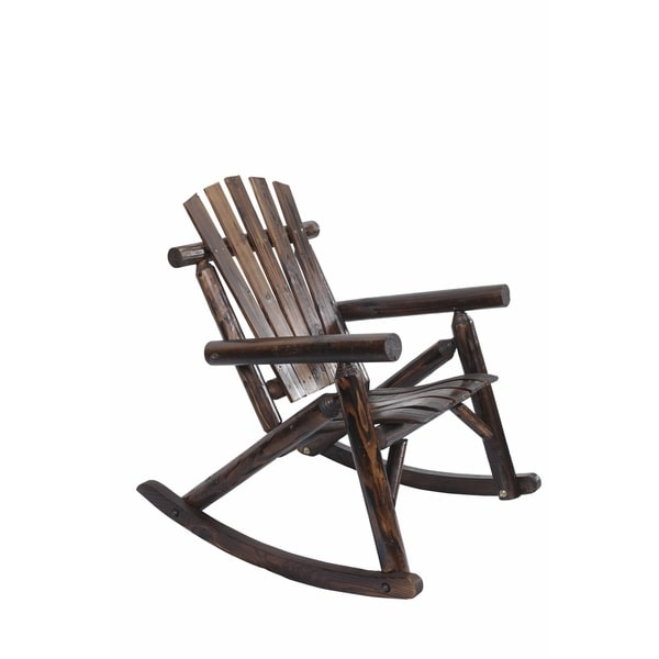 Shop Log Rocking Chair In Burnt Finish Free Shipping