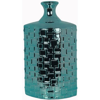 Metallic Turquoise Tall Ceramic Weave Vase
