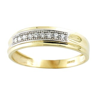 10k Yellow Gold Cubic Zirconia Men's Round Wedding Band