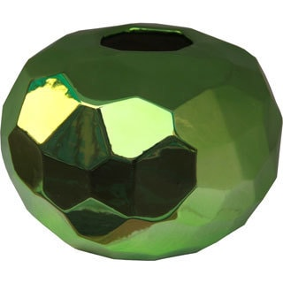 Short Metallic Green Ceramic Vase