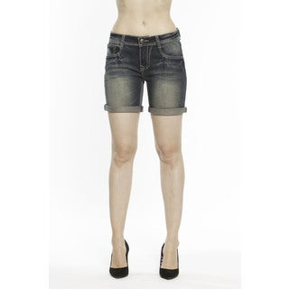 RED by Rose Royce Women's 'Allie' Dark Wash 6-inch Cuffed Shorts