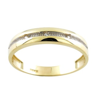 10k Two-tone Gold Cubic Zirconia Men's Wedding Band