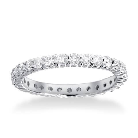 14k White Gold 1ct TDW Diamond Eternity Wedding Ring