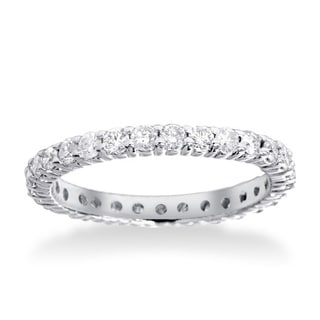 14k White Gold 1ct TDW Diamond Eternity Wedding Ring (I-J,I2-I3)