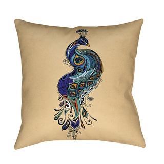 Peacock Throw Pillow or Floor Pillow (Art by Green Girl Canvas)