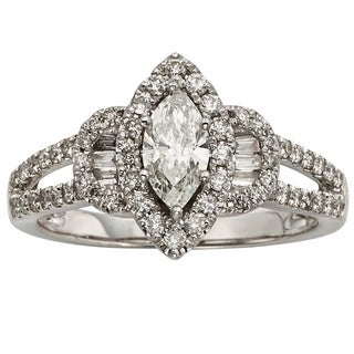 Sofia 14k White Gold 1ct TDW IGL Certified Marquise-cut Diamond Halo Engagement Ring