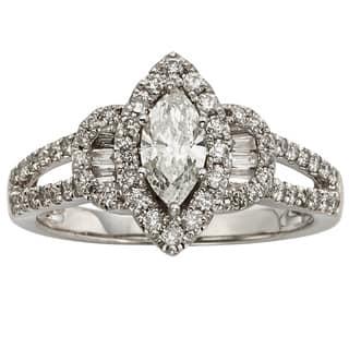 Sofia 14k White Gold 1ct TDW IGL Certified Marquise Cut Diamond Halo Engagement Ring