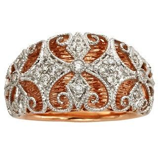 Sofia 14k Rose and White Gold 1/4ct TDW White Diamond Ring