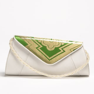 Wa Obi Jill White Leather Clutch