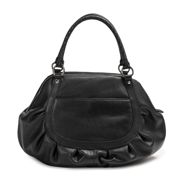 Wa Obi Sylvia Large Black Leather Carry All Shoulder Bag - Free Shipping  Today - Overstock.com - 16418792 4e03fc5ff5
