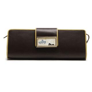 Wa Obi Ally Brown Leather Clutch