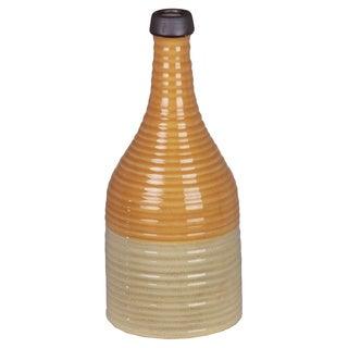 Orange/ Beige Ceramic Ribbed Vase