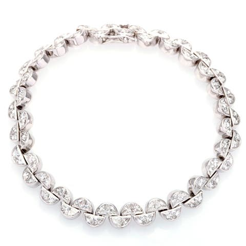 18k White Gold 6.5ct TDW Diamond Half Moon Links Estate Bracelet (H-I, SI1-Si2)