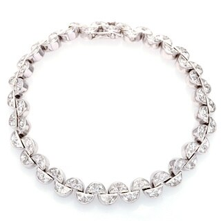 Pre-owned 18k White Gold 6 1/2ct TDW Diamond Half Moon Links Estate Bracelet (H-I, SI1-Si2)