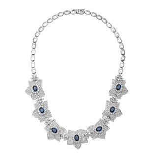Pre-owned 18k White Gold 10 2/3ct TDW Diamond and Sapphire Estate Floral Necklace (H-I, VS1-VS2)|https://ak1.ostkcdn.com/images/products/9253289/P16418772.jpg?impolicy=medium