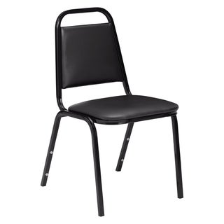 (12 Pack) NPS 9100 Series Vinyl Upholstered Stack Chair, Black