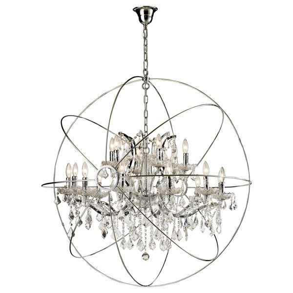 18-light Iron/ Egyptian Crystal Orb Chandelier - Free ...