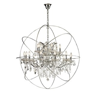 18-light Iron/ Egyptian Crystal Orb Chandelier