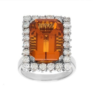Pre-owned 14k White Gold 1 1/4ct TDW Giant Orange Topaz Estate Ring (G-H, VS1-VS2)